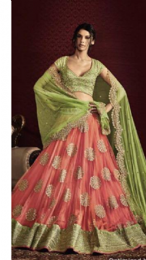 Pretty Lime Green & Pink Lehenga